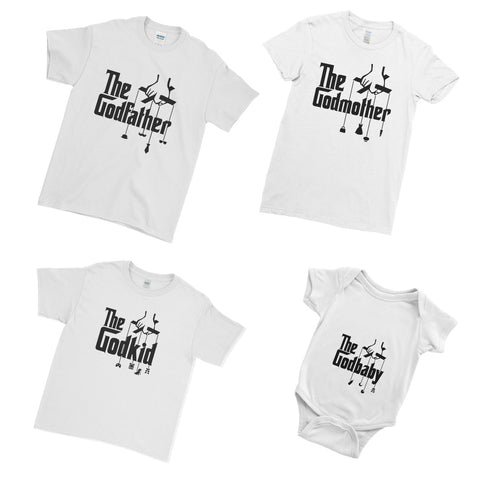 Personalised The God Father God Mother Baby Cute T-Shirt  - Matching Family Couple T Shirt  - Matching Family Couple T Shirt - Ai Printing