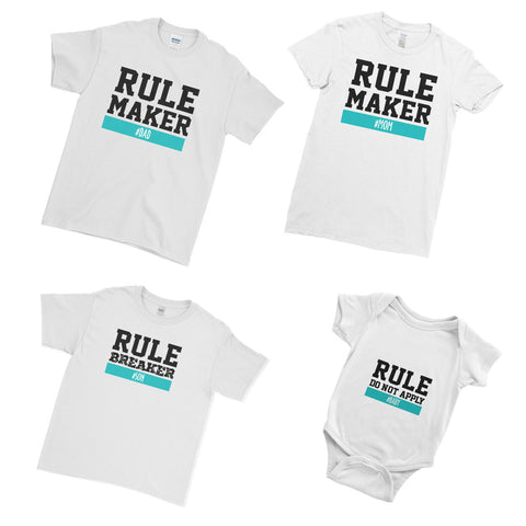 Personalised Rule Maker Rule Breaker Funny T-Shirt  - Matching Family Couple T Shirt  - Matching Family Couple T Shirt - Ai Printing