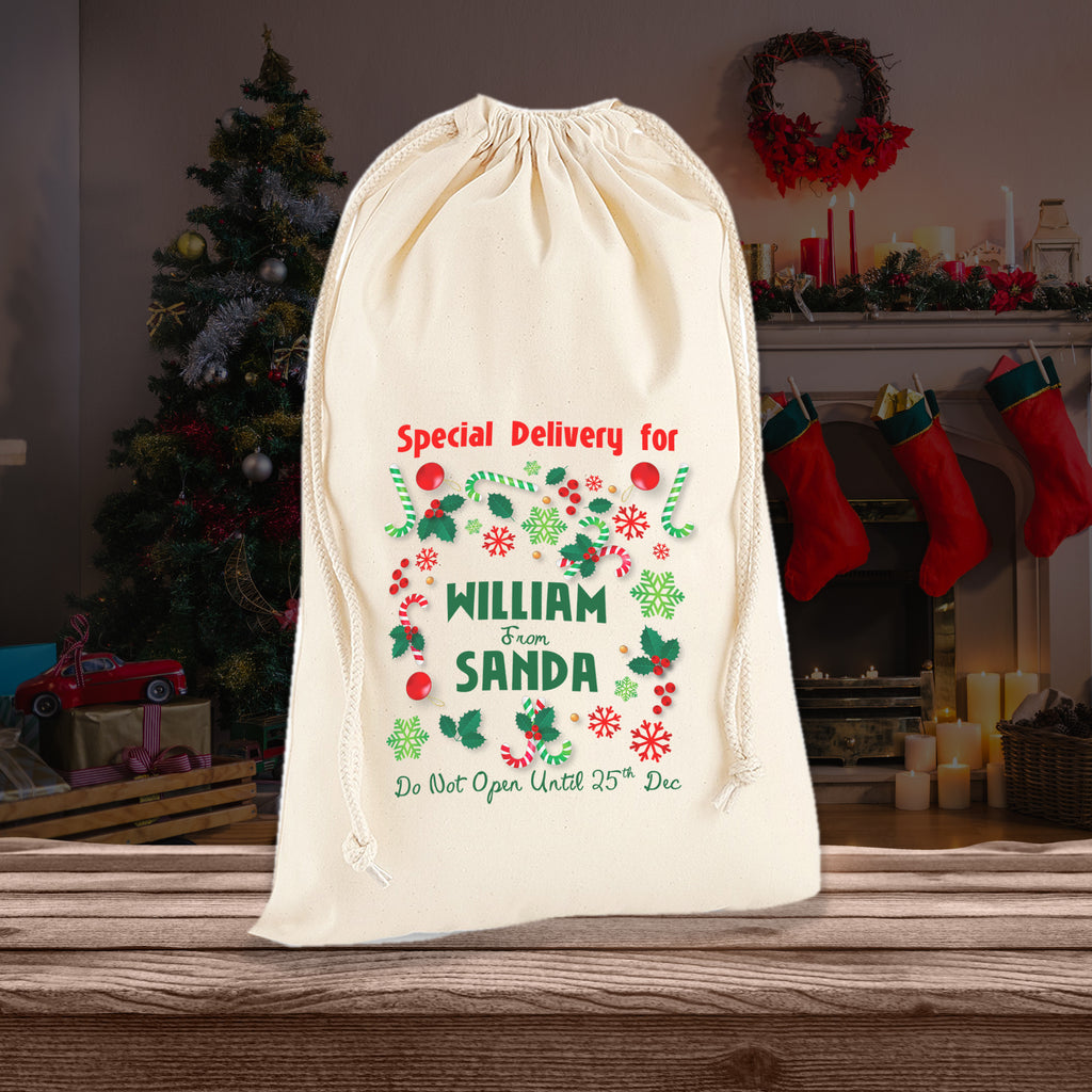 Personalised Special Delivery Sack Bag Doodle For Christmas Gifts - Ai Printing