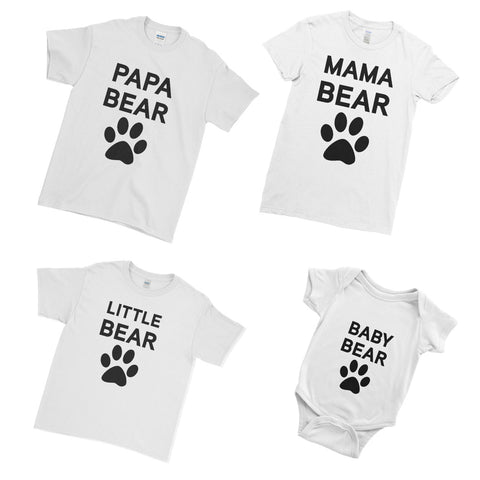Papa Bear Mama Bear Little Bear Baby Bear - Family Matching T-Shirts - Ai Printing