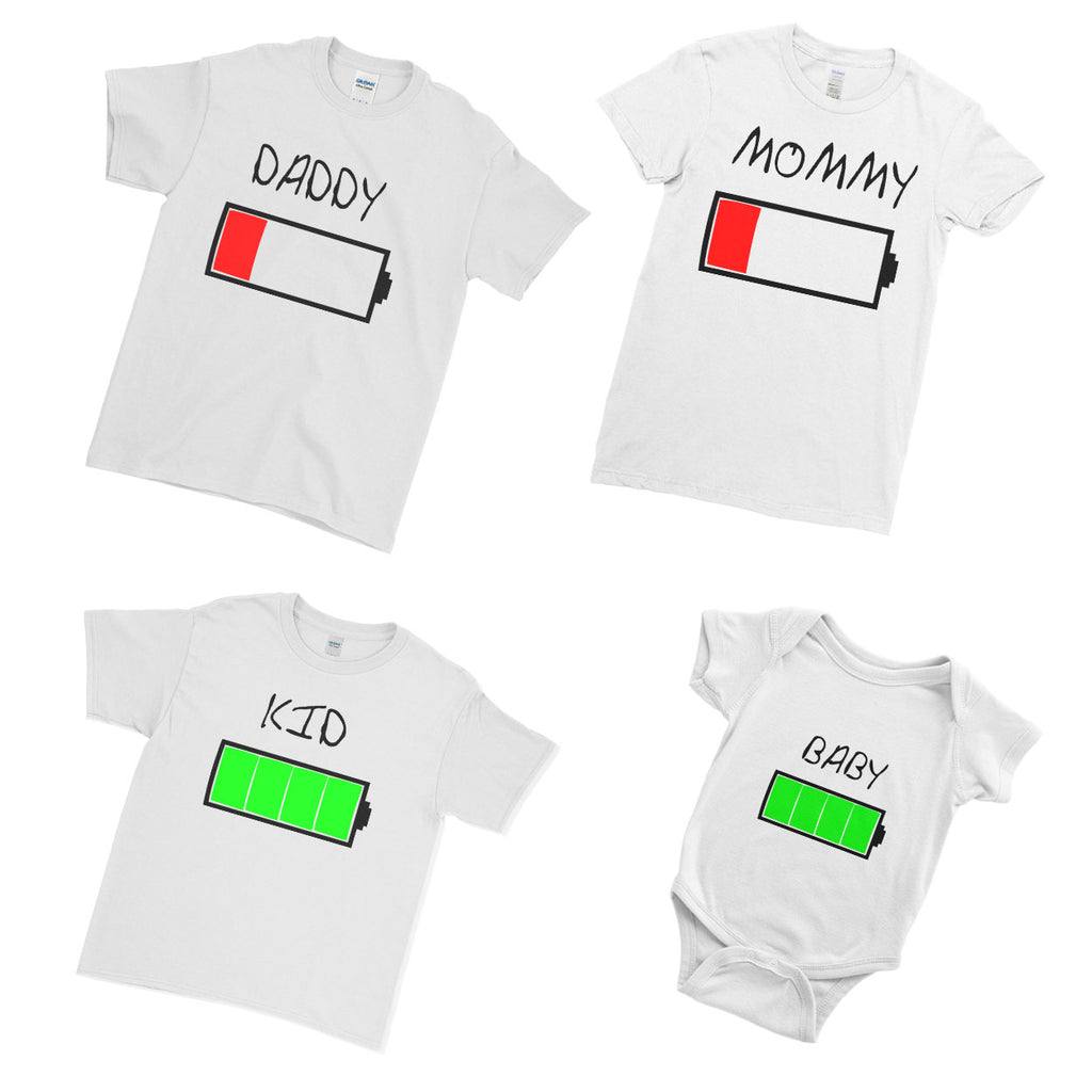 47d32ed60 ... Positive Battery Level Dad Mommy Kid Baby - Family Matching T-Shirts ...