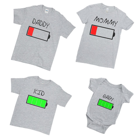 Positive Battery Level Dad Mommy Kid Baby - Family Matching T-Shirts - Ai Printing