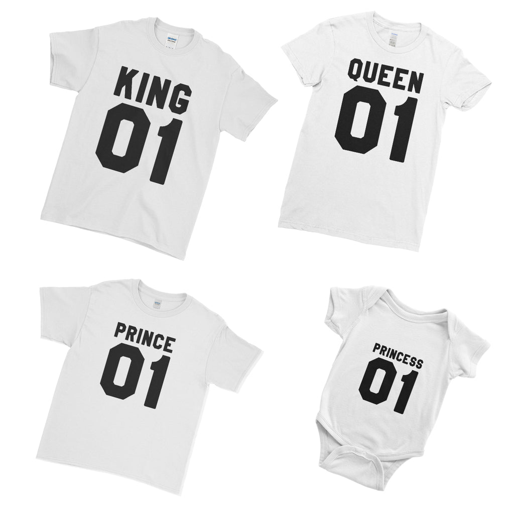 King Queen Prince Princess  - Family Matching T-Shirts - Ai Printing