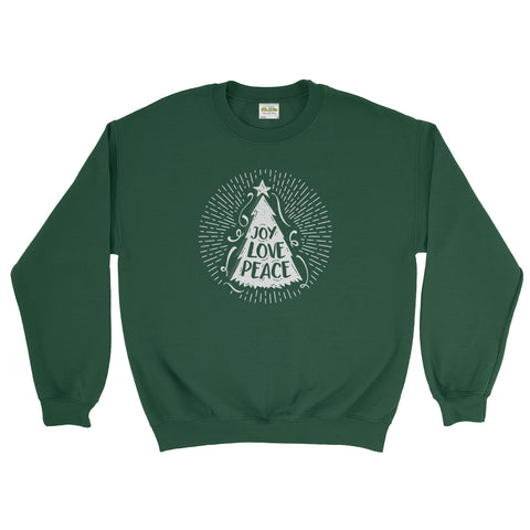 Joy Love Peace Christmas Tree X Mas Unisex Sweatshirt  - Ai Printing - Ai Printing
