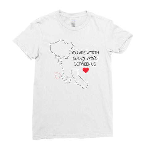 Personalised Couple Location Connecting T Shirt - Valentine's Day T-Shirt - Women - Ai Printing - Ai Printing