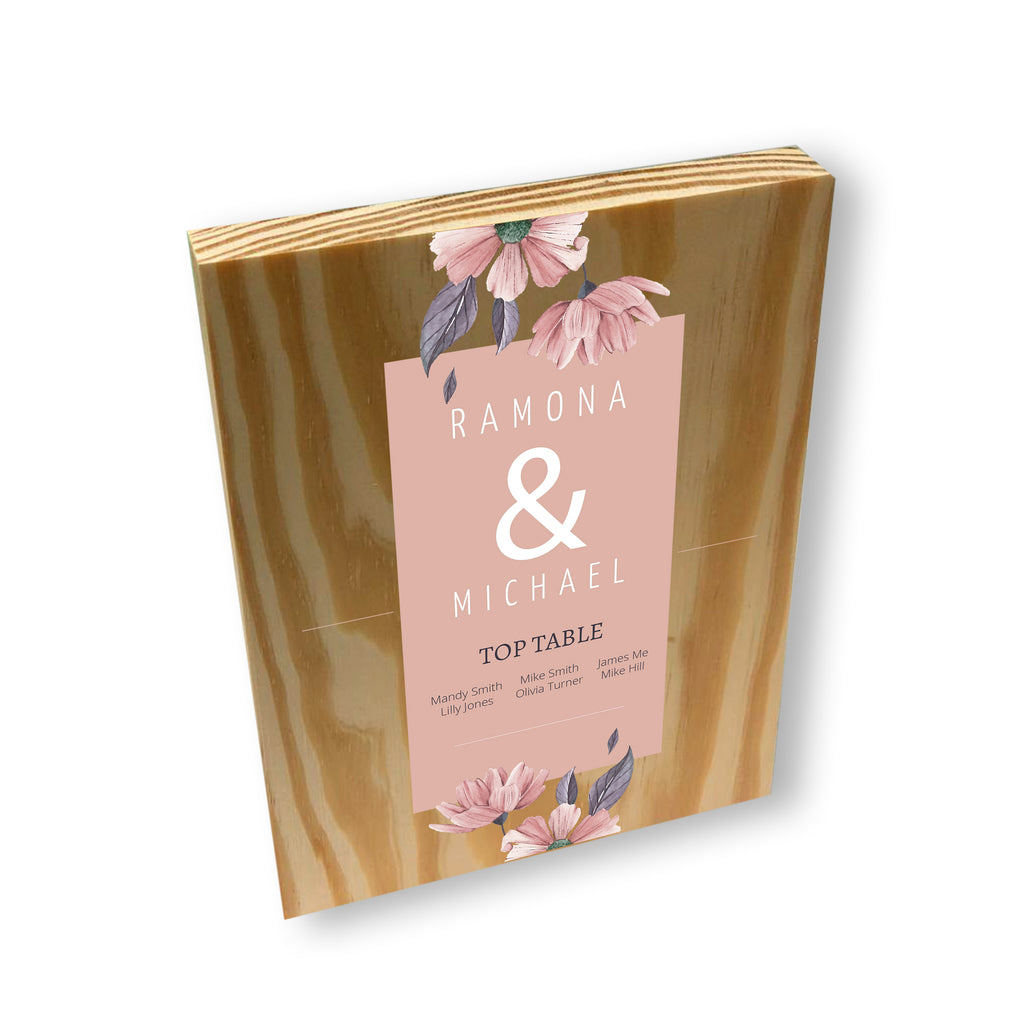 Personalised Wedding Table Plan Planner  - Wooden Block Plaque | Ai Printing - Ai Printing