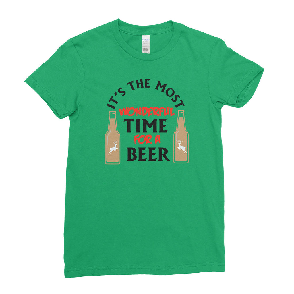 It's the Most Wonderful Time for a Beer Funny Parody Christmas - T-Shirt - Womens - Ai Printing
