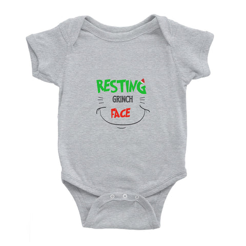 Christmas Resting Grinch Face - Baby Bodysuit - Ai Printing