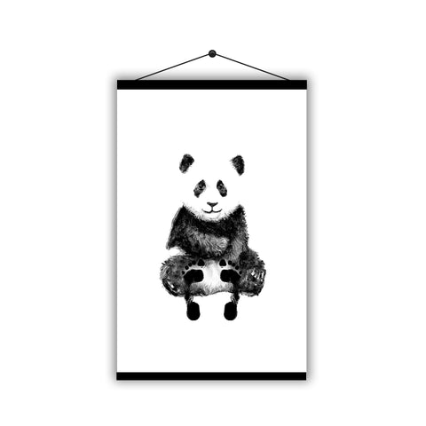 Personalised Baby Footprint Cute Panda Father's Day - Magnetic Hanging Poster - Ai Printing