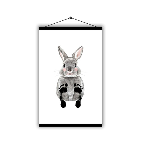 Personalised Baby Footprint Cute Rabbit Father's Day - Magnetic Hanging Poster - Ai Printing