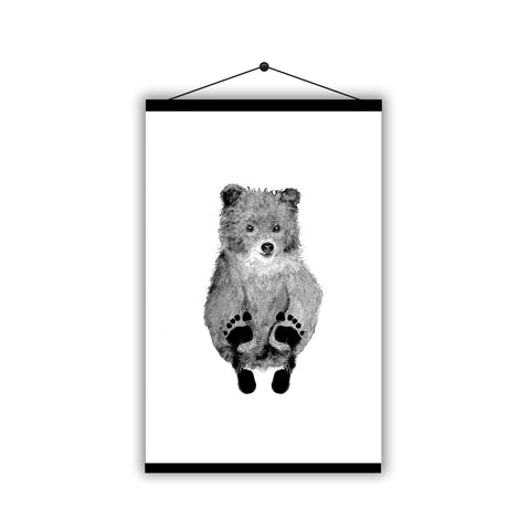 Personalised Baby Footprint Cute Bear Father's Day - Magnetic Hanging Poster - Ai Printing