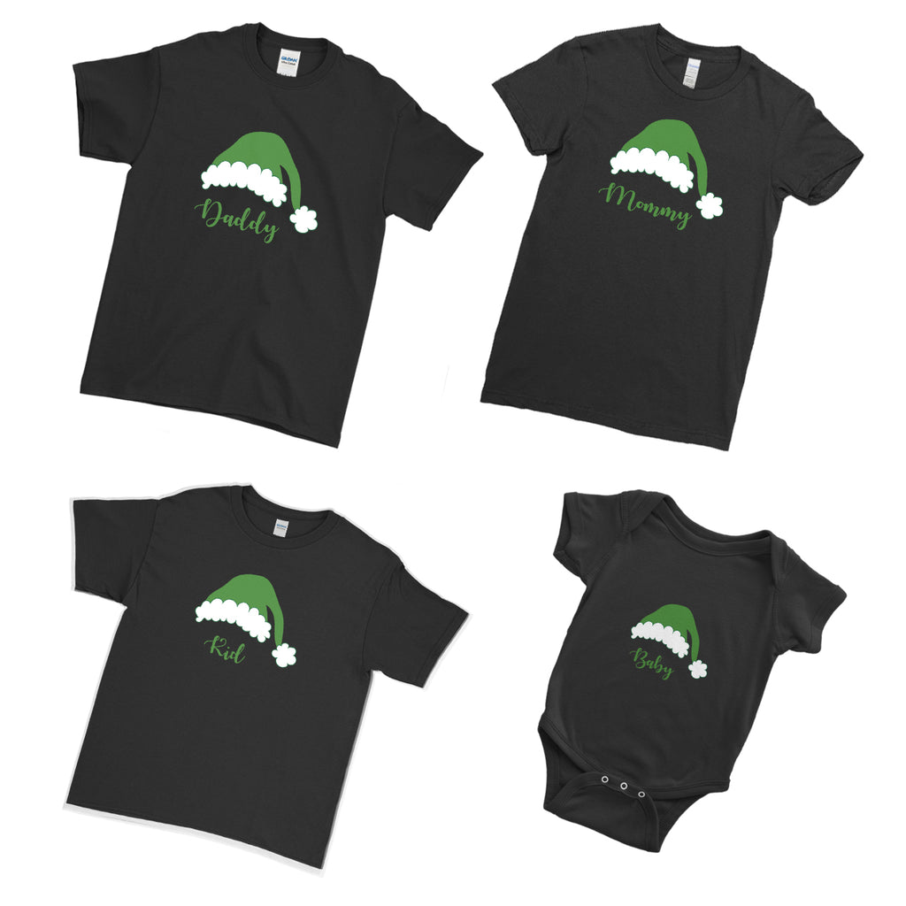 Holy Green Santa Claus Hat Xmas Marry Christmas  - Matching Family Couple T Shirt - Ai Printing