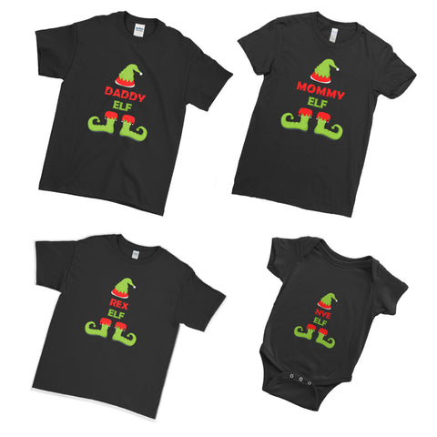 Elf T-Shirts Set Xmas Christmas - Matching Family Couple T Shirt - Ai Printing
