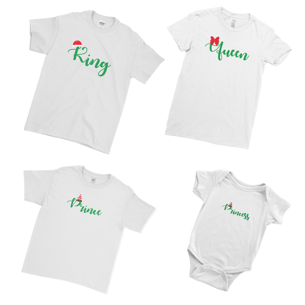 Prince Princess King Queen Xmas Marry Christmas - Matching Family Couple T Shirt - Ai Printing