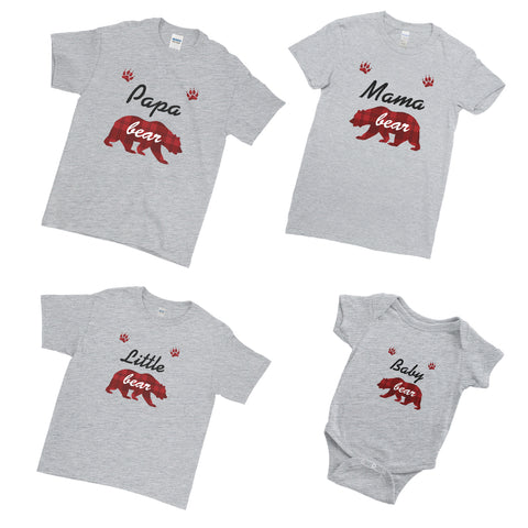 Papa Mama Little Baby Bear Xmas Marry Christmas - Matching Family Couple T Shirt - Ai Printing