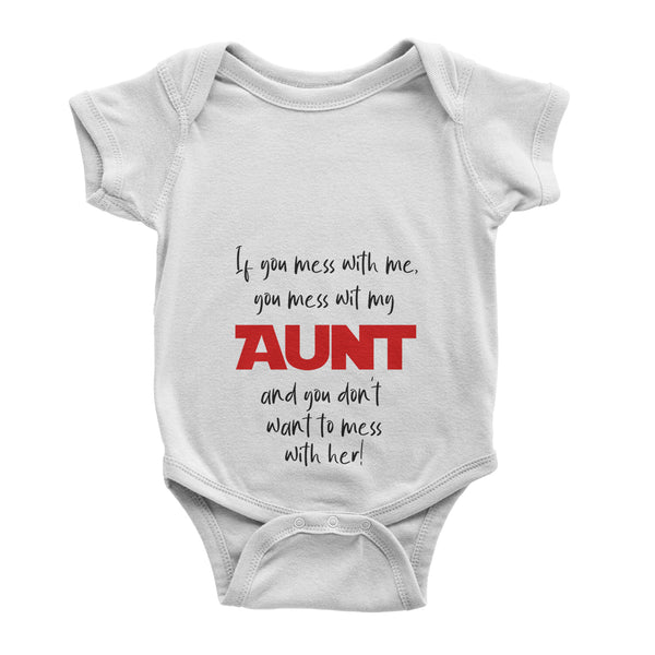Personalised Name Baby Aunt Love Shower Gift Baby Vest - Baby Bodysuit - Ai Printing