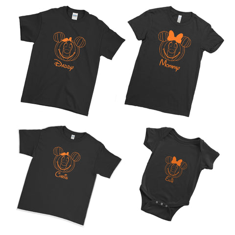 Personalised Halloween Spooky Pumpkin Mouse Face - Family Matching T-Shirts
