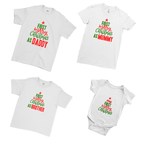 First Marry Chiristmas Xmas Matching Family Couple T Shirt