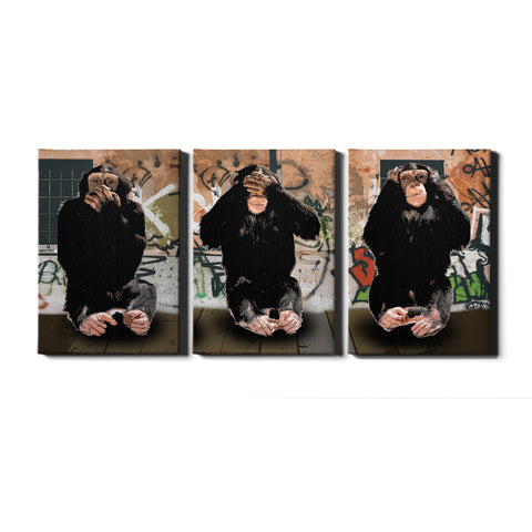 Thug Life Dj Monkey Canvas Wall Art Print Picture Artwork Smoking Monkey 3 Panel