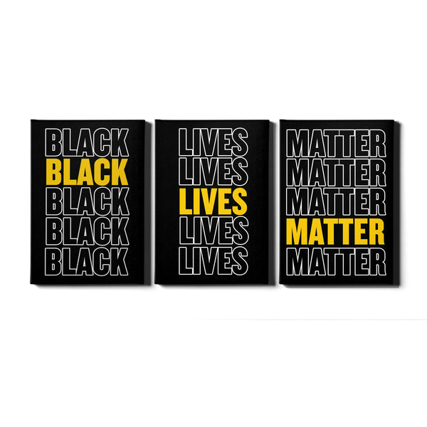 Black Lives Matter Canvas Wall Art Print Picture Artwork 3 Panel Canvas