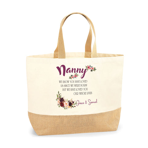Personalised Gift for Nanny Grandma Jute Base Tote Bag | Ai Printing - Ai Printing