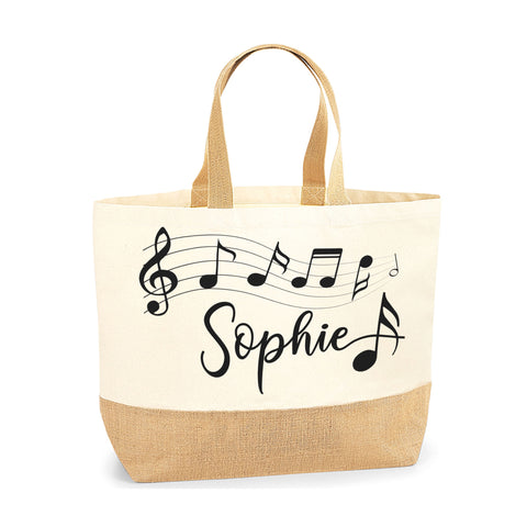 Personalised Name Music Note Jute Base Tote Bag | Ai Printing - Ai Printing