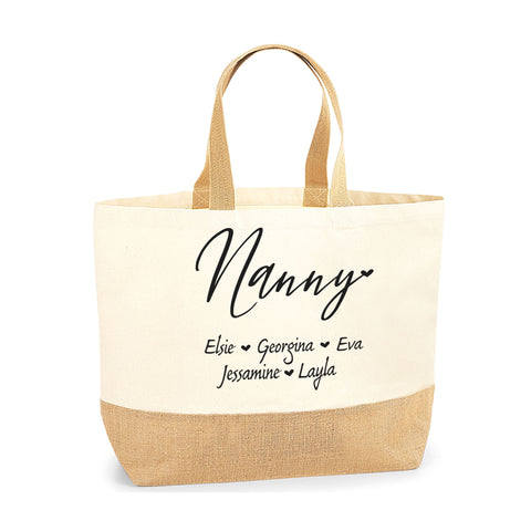 Personalised Name Gift for Nanny Jute Base Tote Bag | Ai Printing - Ai Printing