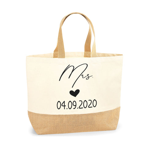 Personalised Gift for Wedding Cute Jute Base Tote Bag | Ai Printing - Ai Printing