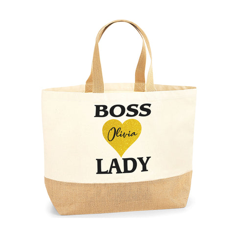 Personalised Name Boss Lady Jute Base Tote Bag | Ai Printing - Ai Printing