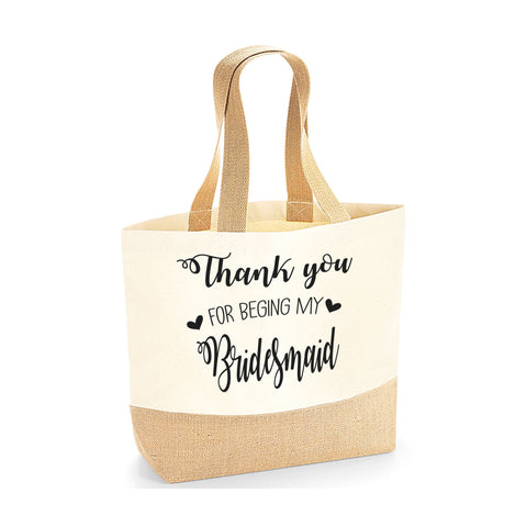 Personalised Thank You Bridesmaid Jute Base Tote Bag | Ai Printing - Ai Printing