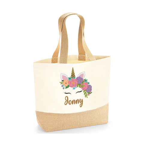Personalised Name Cute Unicorn Jute Base Tote Bag | Ai Printing - Ai Printing