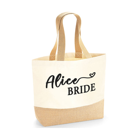 Personalised Name Bride Jute Base Tote Bag | Ai Printing - Ai Printing