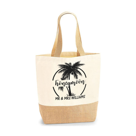Personalised Name Gift for Honeymoon Couple Jute Base Tote Bag | Ai Printing - Ai Printing