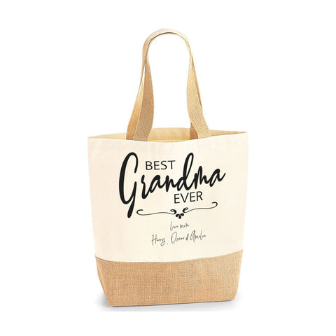 Personalised Name Best Grandma Ever Jute Base Tote Bag | Ai Printing - Ai Printing