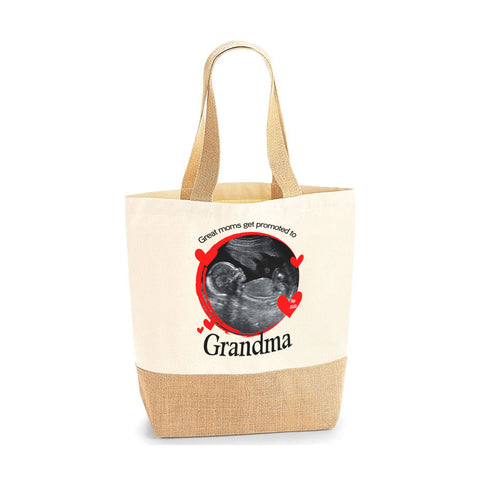 Personalised Image Gift for Grandma Mom Jute Base Tote Bag | Ai Printing - Ai Printing