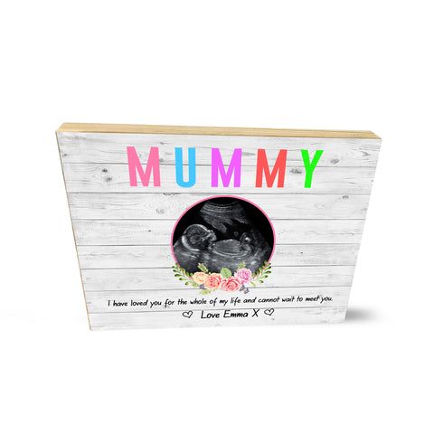Personalised Baby Scan Wooden Photo Block Mother's Day Keepsake Mug Gift for Mum