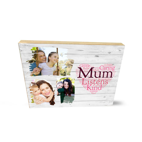 Personalised Photo Collage Wooden Block Heart Mum Mummy Cute Mother's Day Gifts- Wooden Block