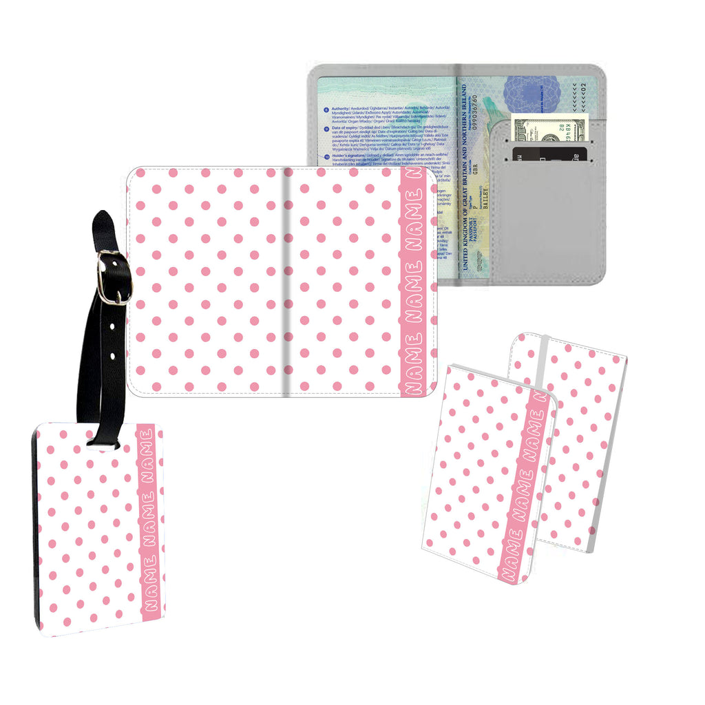 Personalised Name Passport Slim Cover Holder Luggage Tag Retro White & Pink Polkadots - Ai Printing