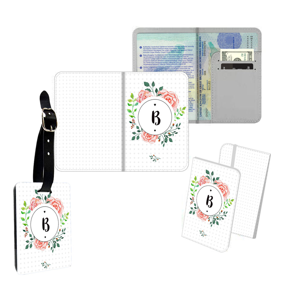Personalised Name Passport Slim Cover Holder Luggage Tag Floral Initial Circle - Ai Printing