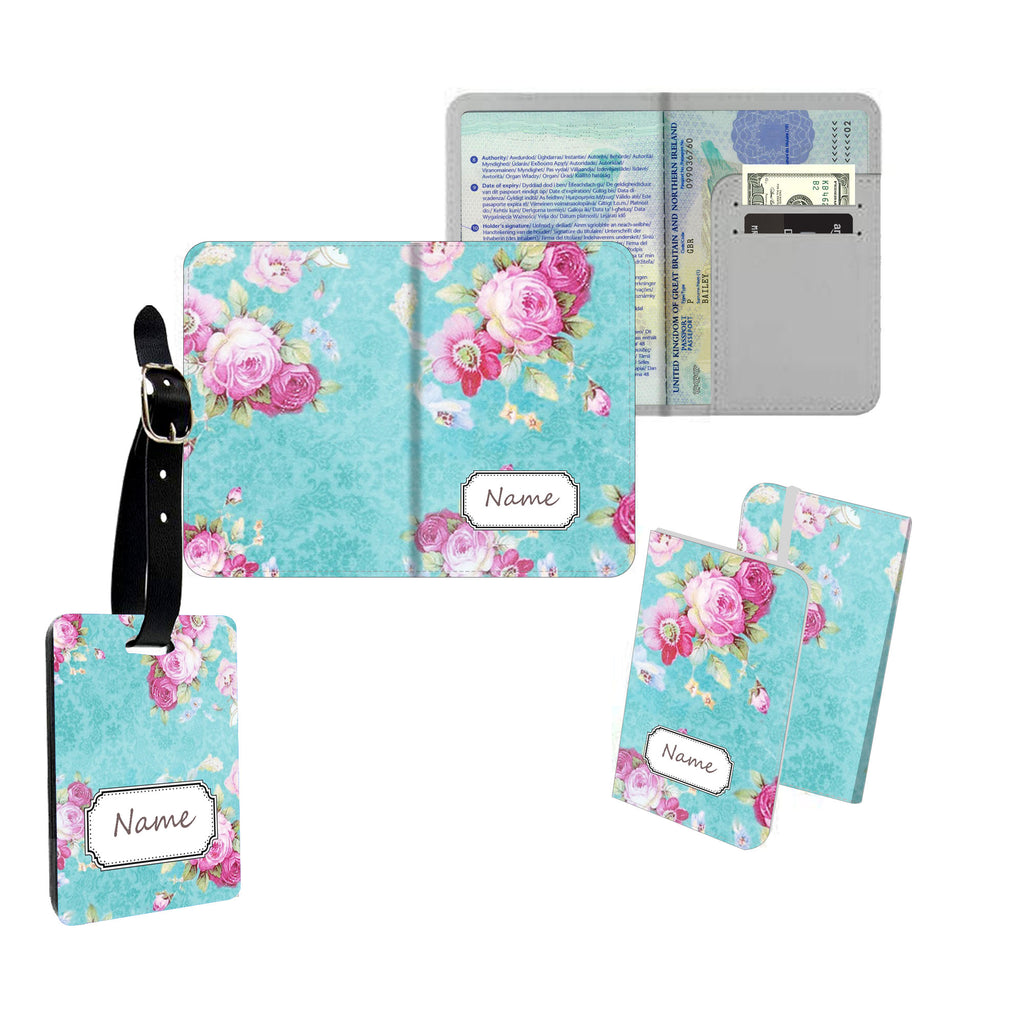 Personalised Name Passport Slim Cover Holder Luggage Tag Blue Camouflage Print - Ai Printing