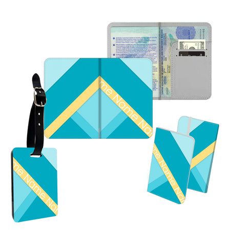 Personalised Name Passport Slim Cover Holder Luggage Tag Blue and Yellow Blocks - Ai Printing