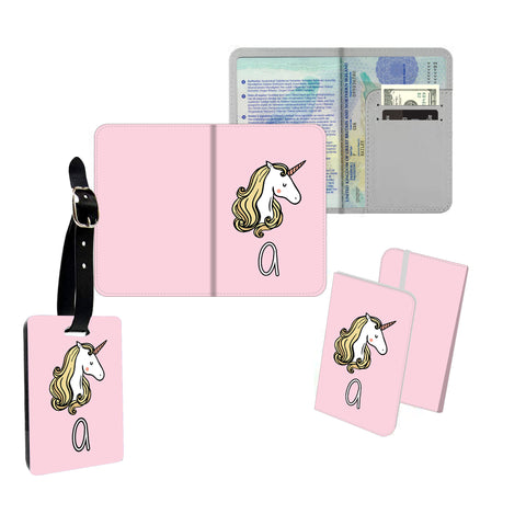 Personalised Name Passport Slim Cover Holder Luggage Tag Pink Unicorn - Ai Printing