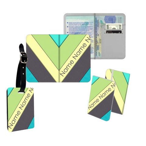 Personalised Name Passport Slim Cover Holder Luggage Tag Green and Blue Yellow Stripes - Ai Printing
