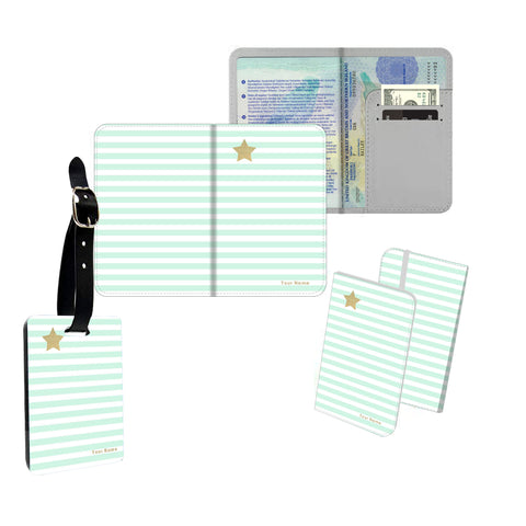 Personalised Name Passport Slim Cover Holder Luggage Tag Gold Star Green Stripes - Ai Printing