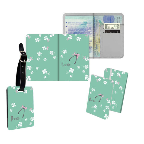 Personalised Name Passport Slim Cover Holder Luggage Tag Pink Ribbons - Ai Printing