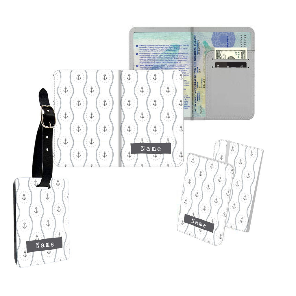 Personalised Name Passport Slim Cover Holder Luggage Tag Clear Anchor Pattern - Ai Printing