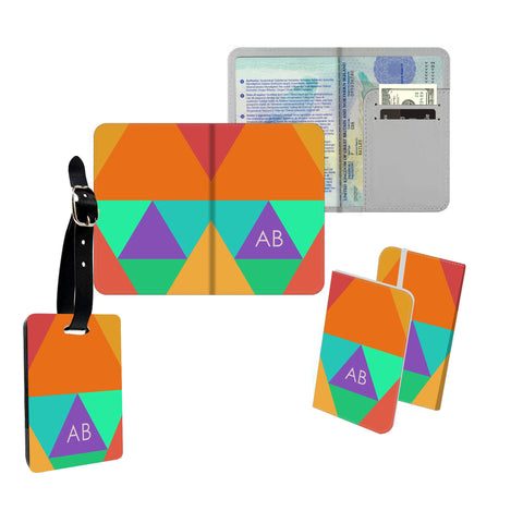 Personalised Name Passport Slim Cover Holder Luggage Tag Orange Triangle Blocks - Ai Printing