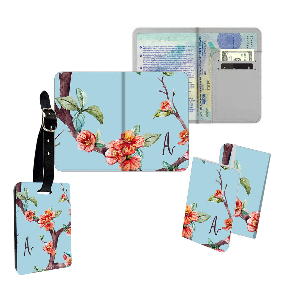 Personalised Name Passport Slim Cover Holder Luggage Tag Blue and Pink Floral Blossom - Ai Printing