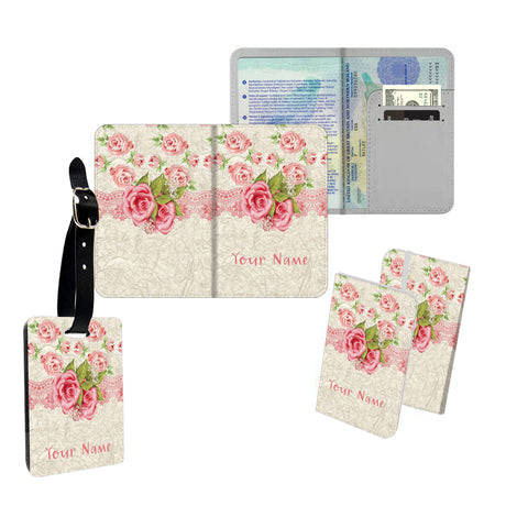 Personalised Name Passport Slim Cover Holder Luggage Tag Pink Rose Ribbon - Ai Printing