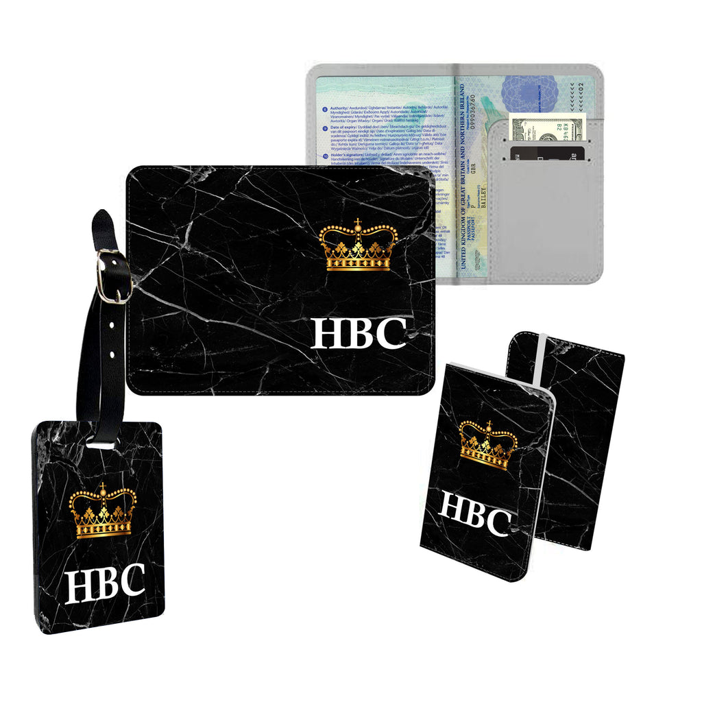 Personalised Name Passport Slim Cover Holder Luggage Tag Initial Gold Crown and Black Broken Marble - Ai Printing
